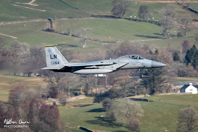 USAF Boeing F-15C Eagle 86-0154 low level in Northern England