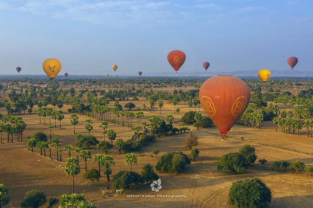High Soaring Hot Air Balloons, Bagan, Myanmar