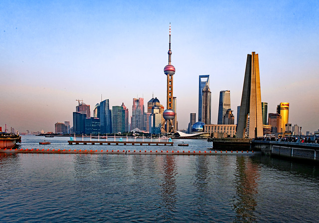 China 2010. Shanghai. Another view on Pudong and the Pearl Tower at Sunset.