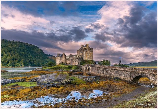 Morning low tide at Eilean Donan Castle
