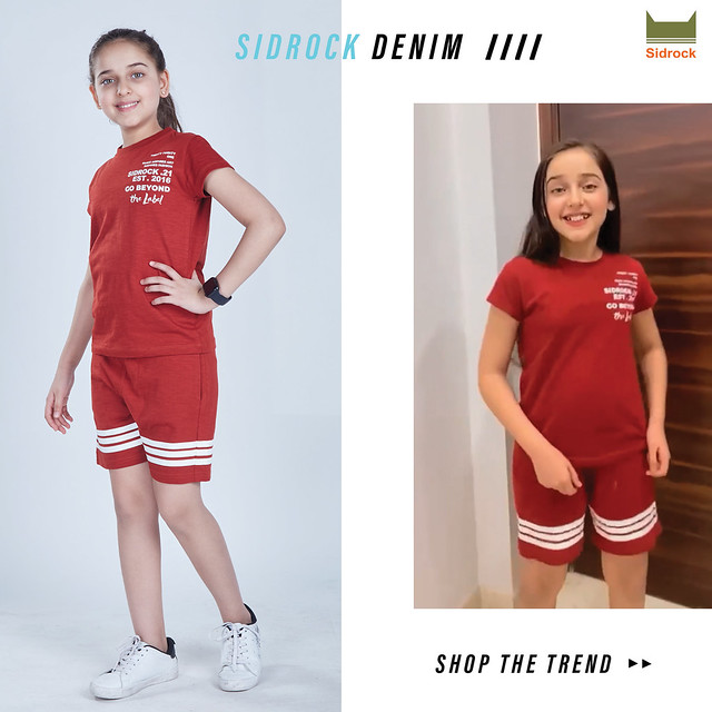 Girls Casual Red T-Shirt with Shorts Combo