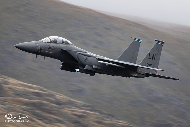 USAF Boeing F-15E Strike Eagle 91-0321 low level in Northern England