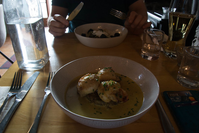 Scallops at The Anchorage, Black Pudding for Alasdair