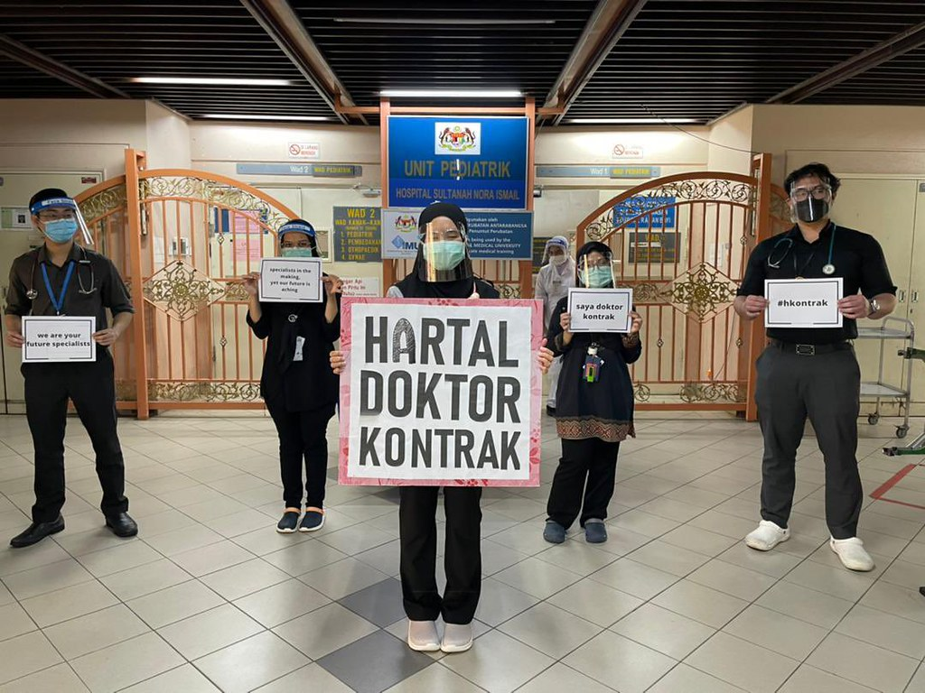 馬來西亞各地合約醫師發起罷工。(圖片來源:@avenfauzi)