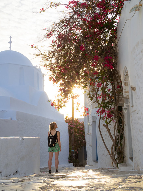Golden hour and bougainvillea in Chora, Amorgos