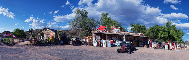Arizona, Route 66, Hackberry seitlich, from the side, Ford Model A 1928-1931, Studebaker 2  als zusammengesetztes/stiched Panorama, maximale Größe in cm 400 X 127