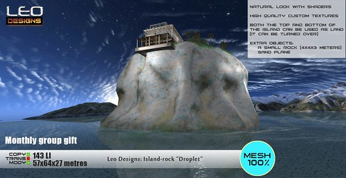 """Monthly group gift. Island-rock """"Droplet"""" (57x64 metеrs): Leo Designs store (Second Life)"""