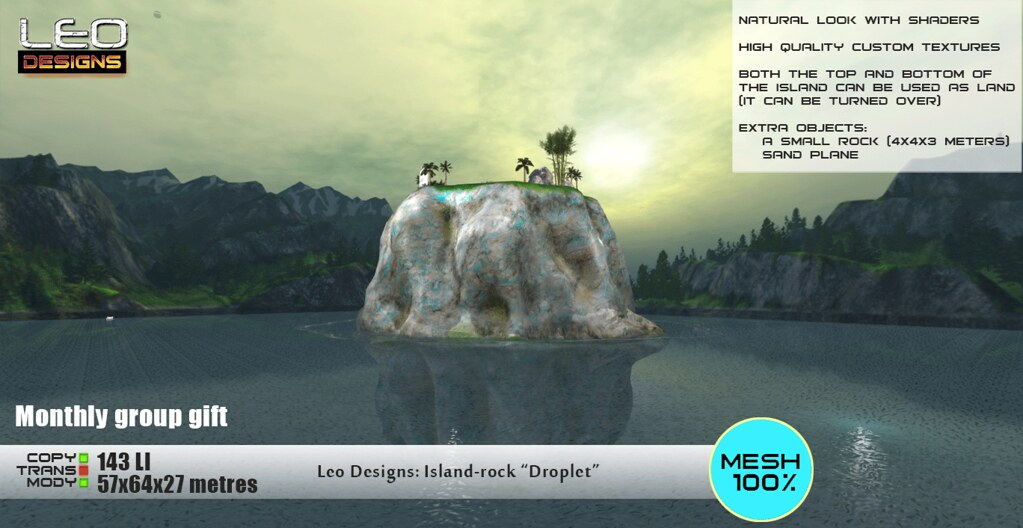 """Monthly group gift. Island-rock """"Droplet"""" (57×64 metеrs): Leo Designs store (Second Life)"""