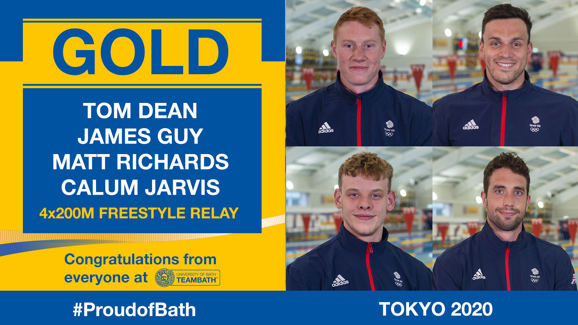 The gold medal-winning 4x200m freestyle relay swimmers