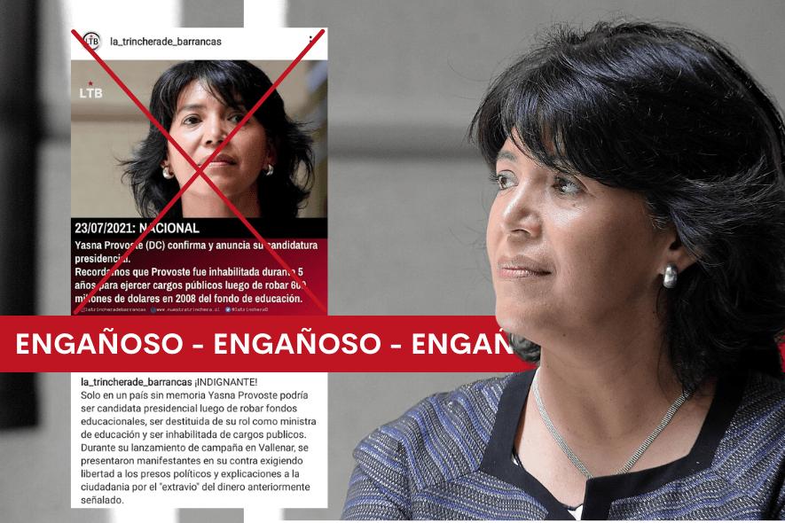Es engañoso afirmar que Yasna Provoste fue inhabilitada de ejercer cargos públicos por cinco años luego de robar US 0 millones