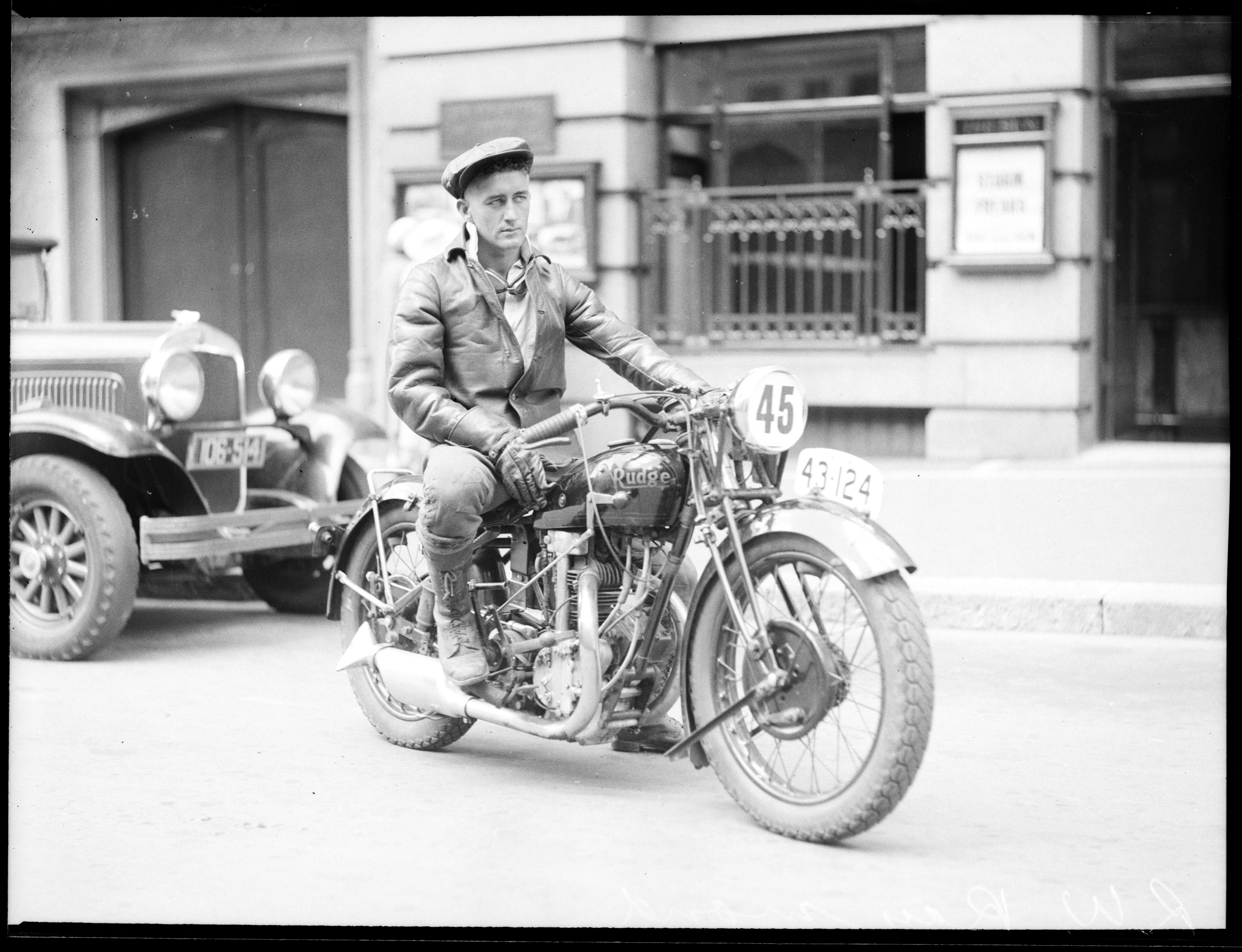 Male Motorcycle rider on his Rudge racing bike, ca. 1935