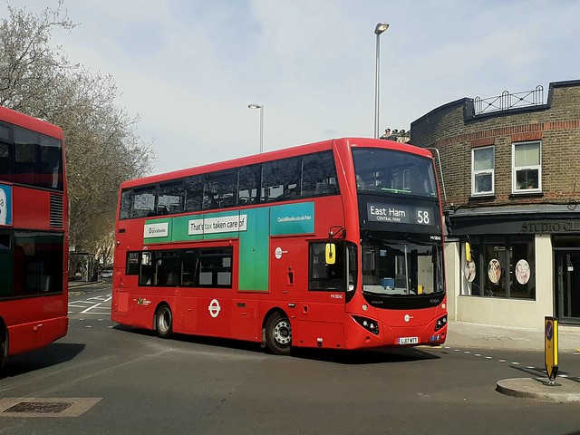 Tower Transit MV38242, LJ17WTT on Route 58 at Leyton, Drapers Field Recreational Ground