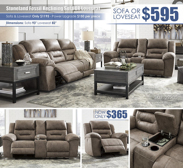 Stoneland Fossil Reclining Sofa OR Loveseat_Your Choice_39905_July2021