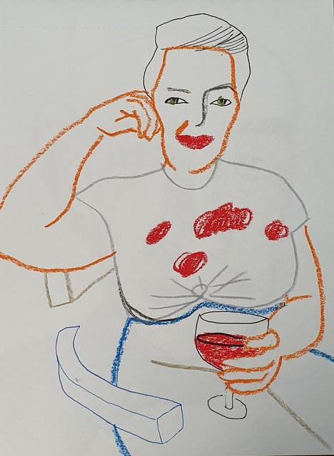 Maria Zaikina, Woman with a glass, 2021