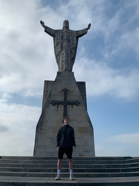 Monte Naranco, statue of Jesus on top of a mountain