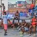 Boxers pause between training in outdoor gym, Havana, Cuba