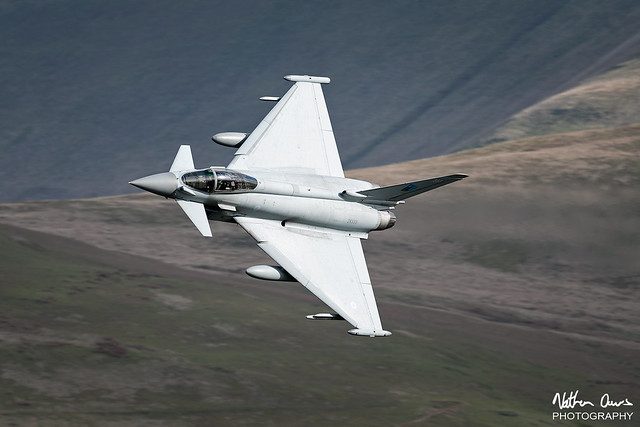 RAF Typhoon FGR.4 ZK333 low level in Northern England