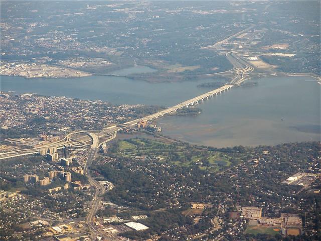 Aerial view of Woodrow Wilson Bridge, Alexandria, Virginia
