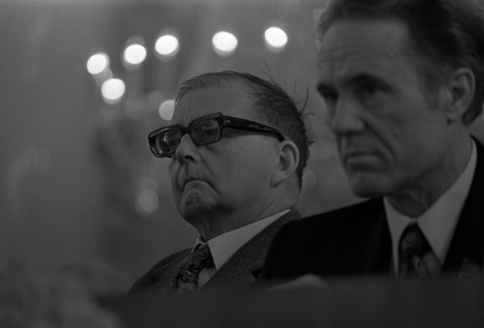 1972. Съезд Союза композиторов СССР в Колонном зале Дома Союзов, Дмитрий Шостакович и Шауро