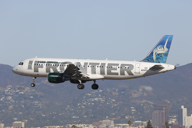 N210FR, Airbus A320-200, Frontier Airlines, Los Angeles