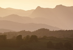 Langdale Pikes from Scout Scar, Kendal, Lake District National Park, Cumbria, UK