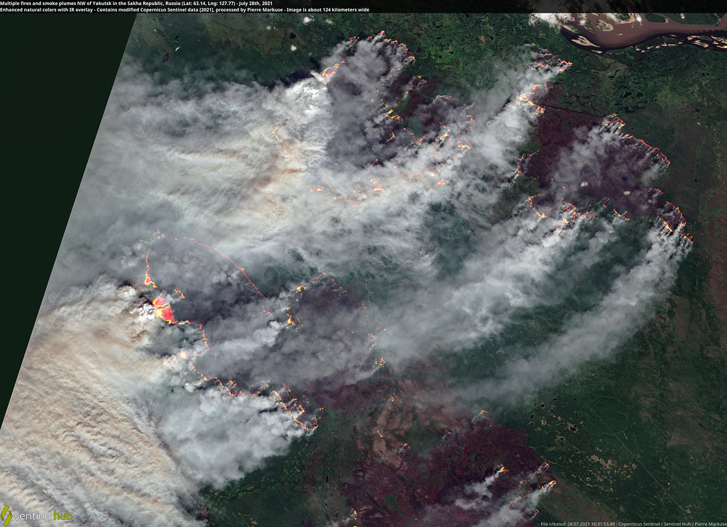 Multiple fires and smoke plumes NW of Yakutsk in the Sakha Republic, Russia (Lat: 63.14, Lng: 127.77) - July 28th, 2021