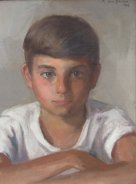 Yours Truly at age 9 as painted by Roger Van Damme, a regionally well-known artist. For a week, I had to sit perfectly still inside his tiny beach cottage covered with images in progress. He liked painting porcelain mugs in patterns. Milford CT. Aug 1968