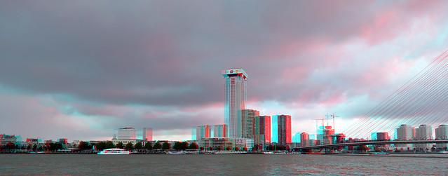 Sky-line Rotterdam juli 2021 3D hyper-anaglyph