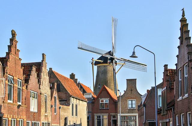 Windmill Den Haas (the Hare) in Zierikzee, Zeeland, the Netherlands