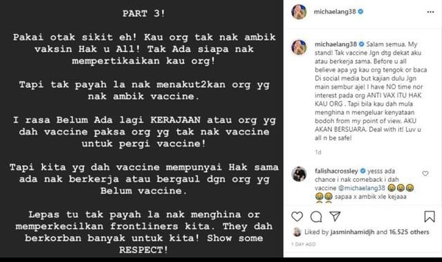 Michael Ang Kongsi Suami Lana Nordin Bagi Amaran Di Ig Live