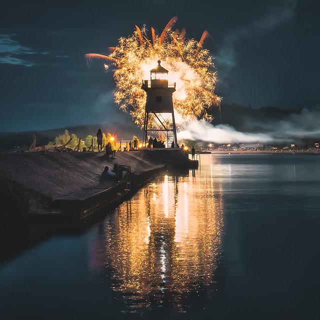 fireworks, 4th of july, grand marais, minnesota, lighthouse