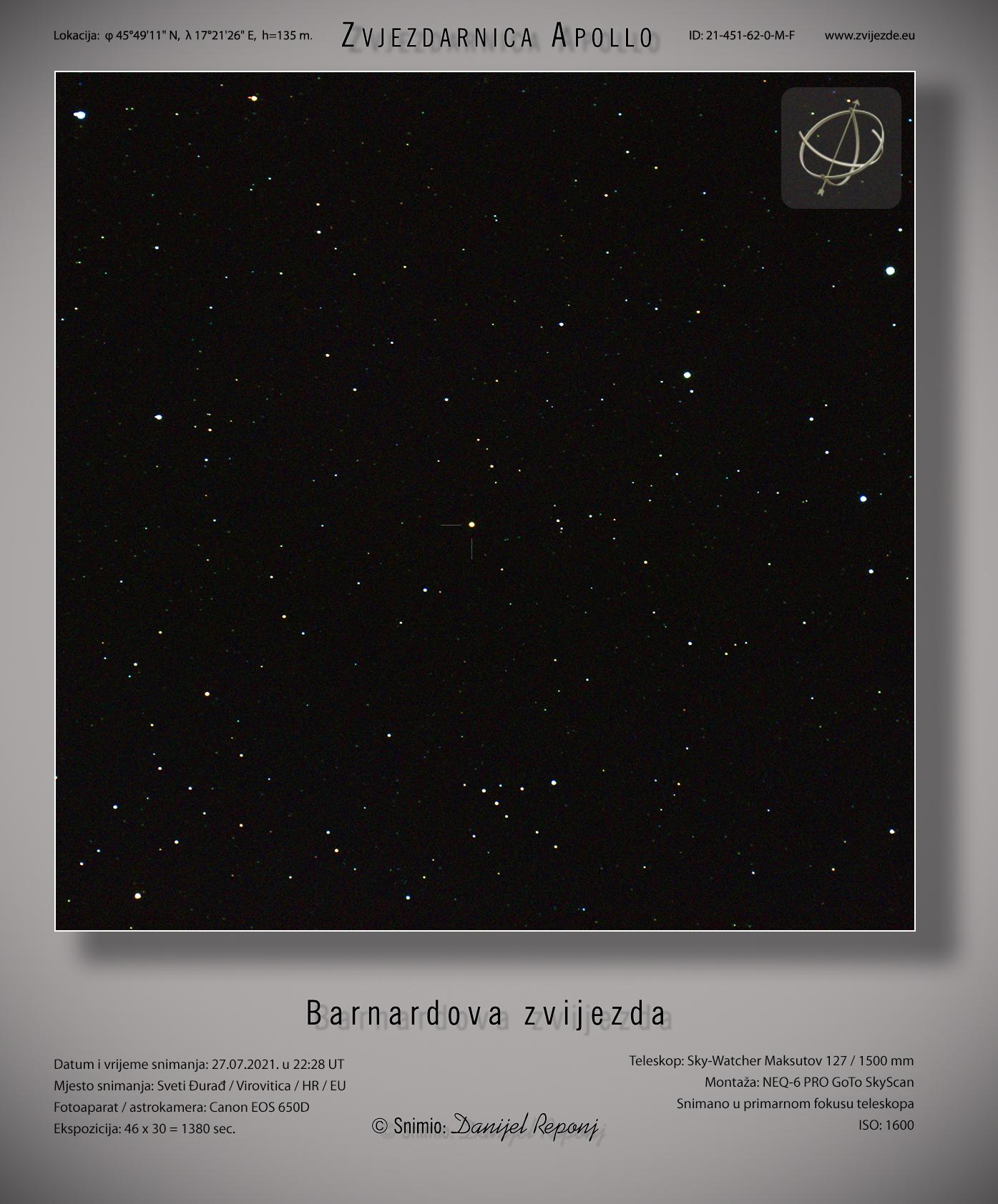 Barnardova zvijezda, 27.7.2021.