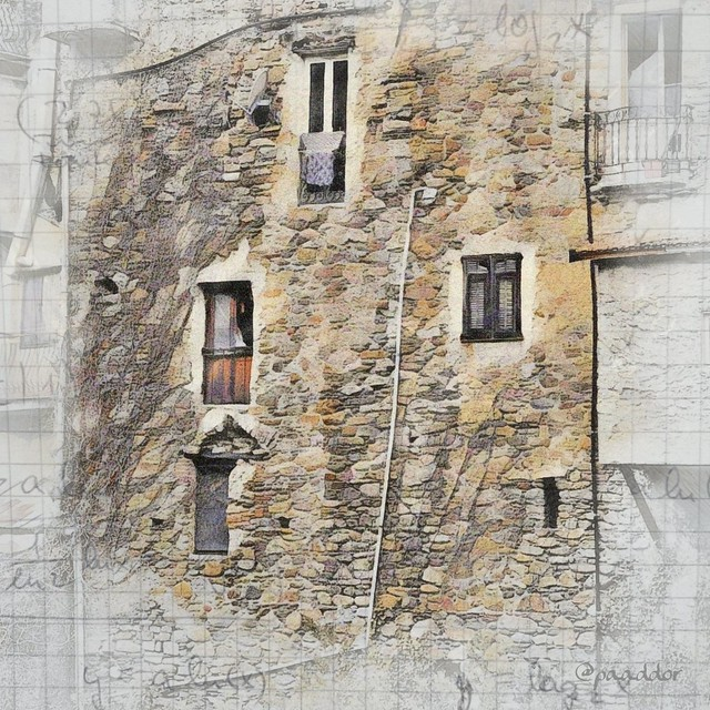 Back Wall of a House in Dolceaqua (Italian Riviera).