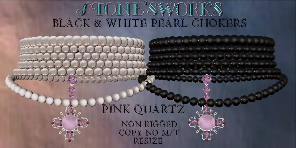 Pearl Choker Wht Blck Pink Quartz Stone's Works