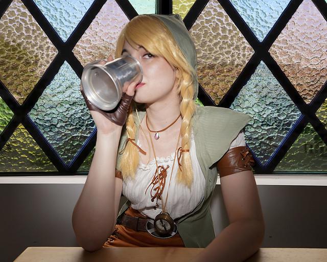 Zelda grabbing a drink