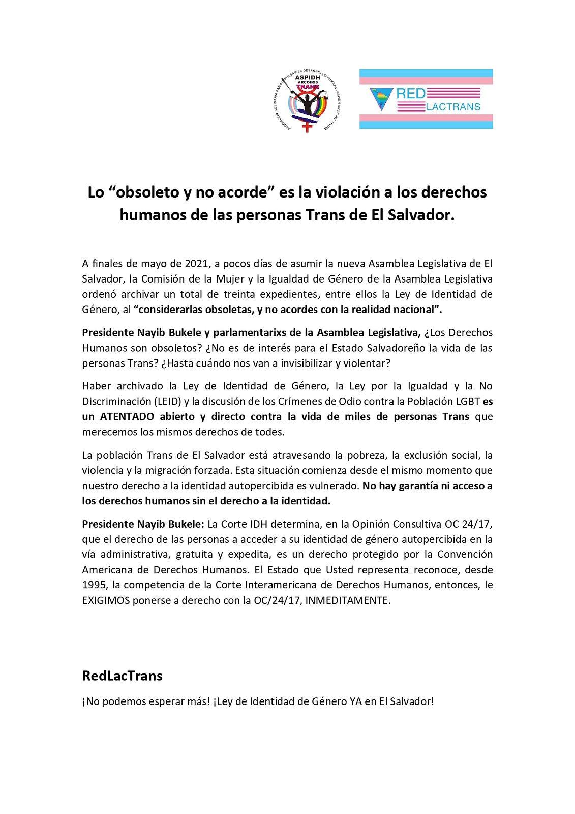 """Lo """"obsoleto y no acorde"""" es la violación a los derechos humanos de las personas Trans de El Salvador_page-0001 (1)"""