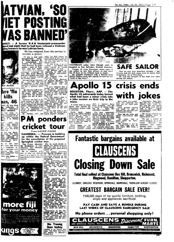 The Melbourne Sun- July 30, 1971- Page 5- Apollo 15