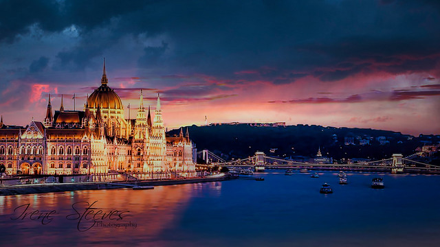 Danube River Cruise with view to Parliament Building, Budapest, Hungary