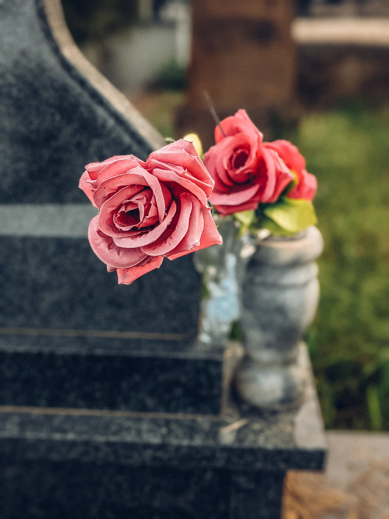 Close-up of fake roses left on a grave