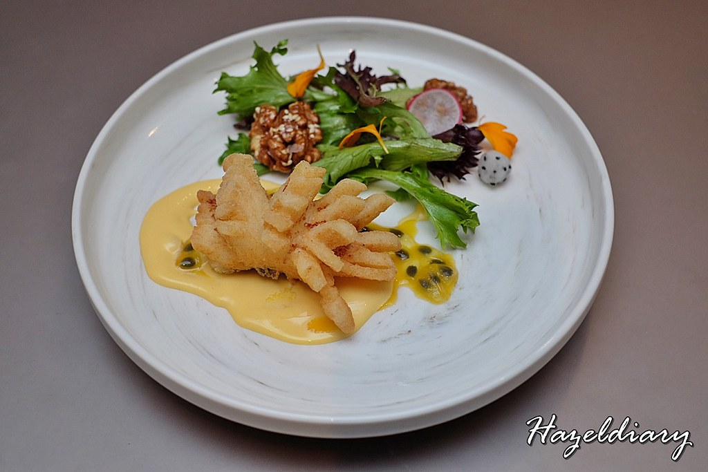 Si Chuan Dou Hua-Deep Fried Cod served with Passion Fruit Sauce