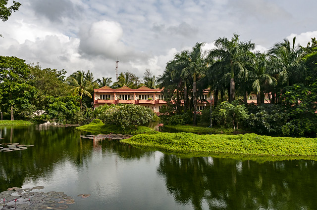 Water, Greens, Trees and the Hotel Leela in Goa on a Monsoon Day