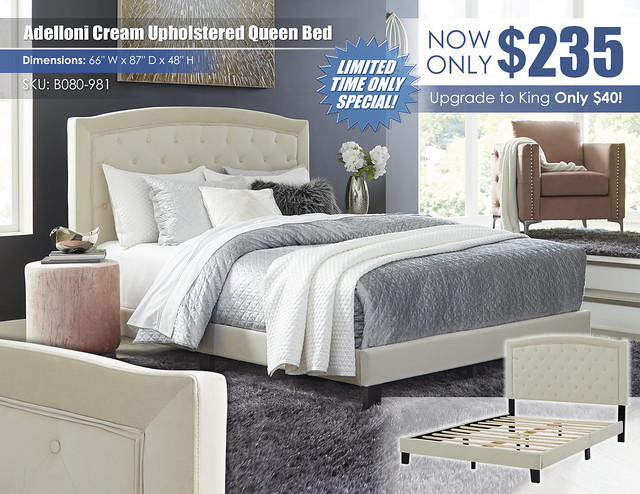 Adelloni Cream Upholstered Queen Bed_B080-981