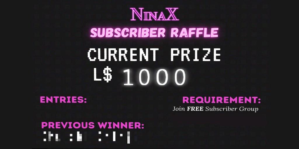 L$ 1000 Giveaway x NinaX Mainstore