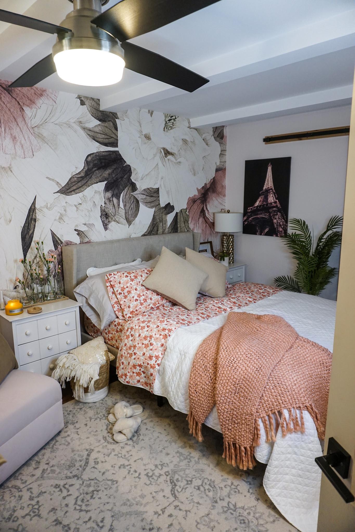 5 Ways to Freshen Up Your Bedroom this August   Bedroom Ideas   Boho Bedroom   Floral Mural Wallpaper   Pink Bedroom   Feminine Bedroom Inspiration   Flower Sheets