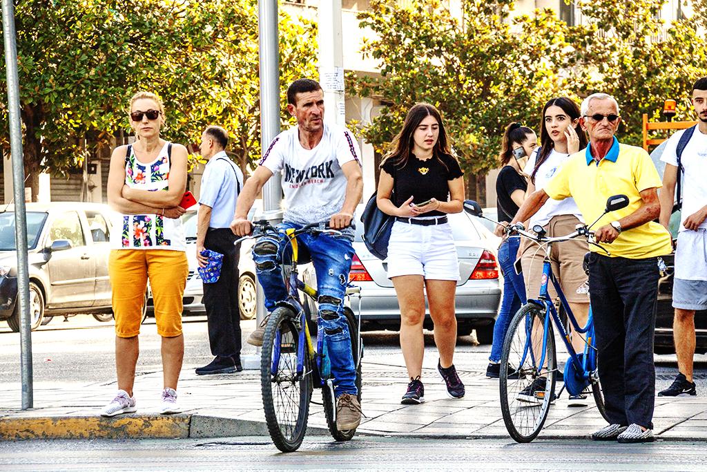 Maskless people on 7-30-21--Tirana