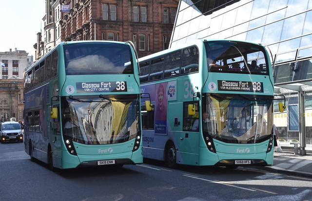 First Glasgow Alexander Dennis Enviro 400 MMC`s 34395 and 34372 Route 38