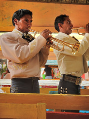Mariachis playing lively music on the boats that wind their way down Xochimilco near Mexico City