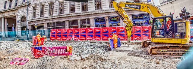 Digging up the Tramway in Bull St