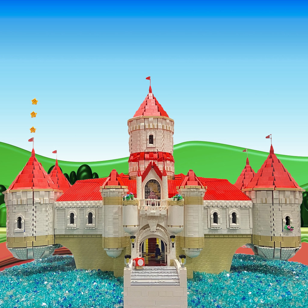 Peaches castle from Super Mario Bros Odyssey game.