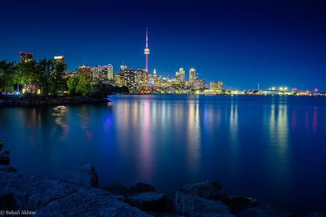 Long Exposure Shot of Toronto Skyline at Night from Trillium Park